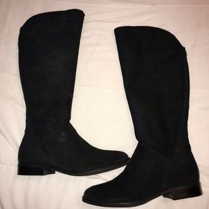 Ivanka Trump Black Suede Nee High Boots. NWT